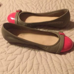 Taupe and hot pink Cole Haan shoes